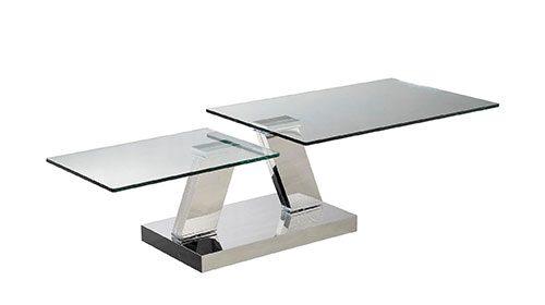 שולחן קפה זכוכית + מתכת