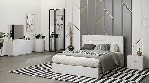 белая спальня с подсветкой