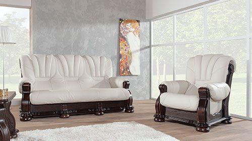 ספה מאור ועץ בסגנון קלאסי кожаный диван в класическом стиле
