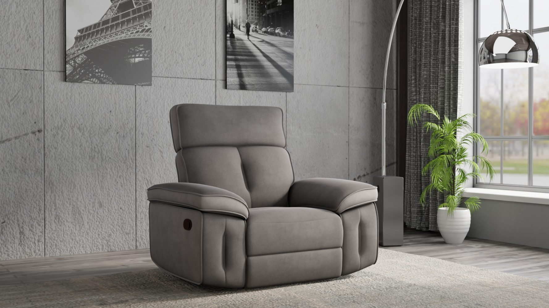 כורסא עם רקליינרים בעיצוב מודרני