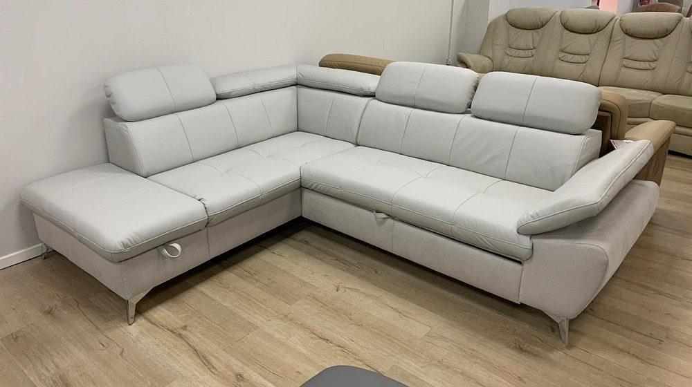 ספה שליוב עור ובד עם מיטה וארגז