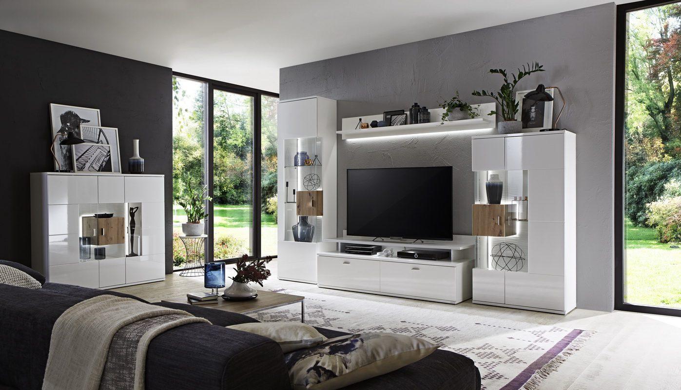 Белая гостиная в современном стиле