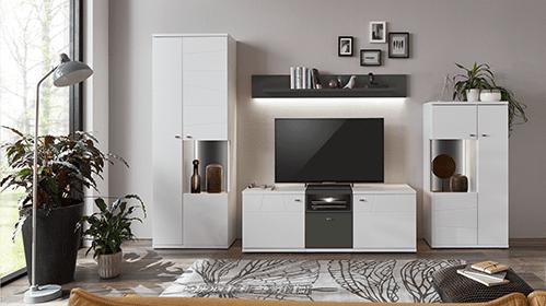 белая гостиная мебель с подсветкой