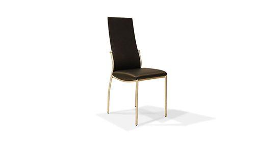 стул с кожаной оббивкой чёрного цвета