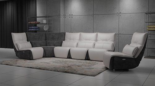 ספה מודרנית עם רקליינרים