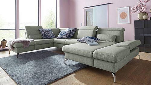 ספה בצורת U עם שזלונג