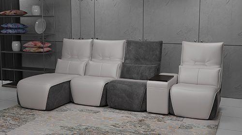 модульный диван с шезлонгом и баром